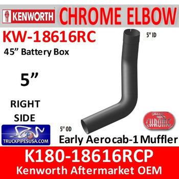 "K180-18616RCP Kenworth Chrome Right 5"" Elbow for 45"" Steps"