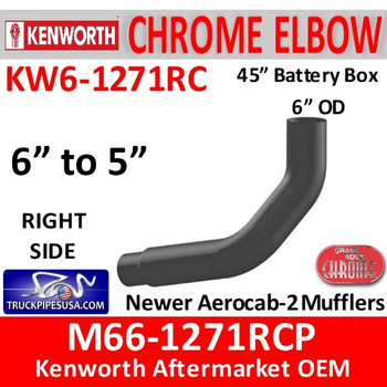 """M66-1271RCP Kenworth Right Chrome Exhaust 6"""" to 5"""""""