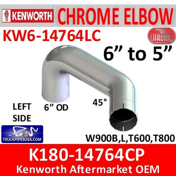 "6"" Kenworth Left Chrome Elbow reduced to 5"" 14764"