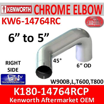 "6"" Kenworth Right Chrome Elbow reduced to 5"" 14764"