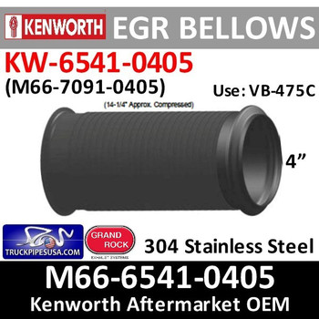 EBPB11863 or M66-6541-0405 Paccar Kenworth Bellows EGR Pipe
