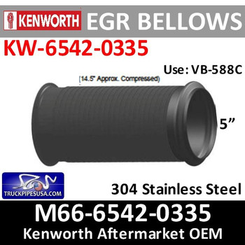 "M66-6542-0335 Kenworth 5"" x 14.5"" Bellows Flex EGR Exhaust Pipe"