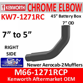 """M66-1271RCP Kenworth Right Chrome Exhaust 7"""" to 5"""""""