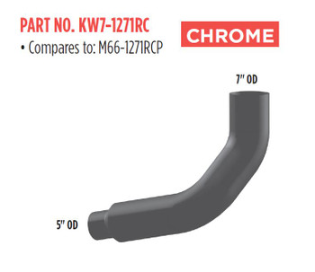 """KW7-1271RC M66-1271RCP Kenworth Right Chrome Exhaust 7"""" to 5"""""""