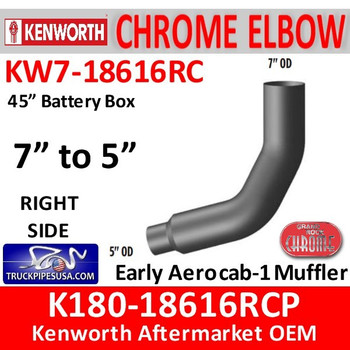 "KW7-18616RCP Kenworth Right Chrome Elbow 45"" Battery Box 7"" to 5"""