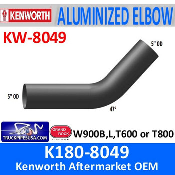 """K180-8049 Kenworth Exhaust 5"""" OD Elbow with 47 Degree Bend"""