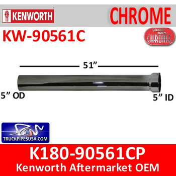 """K180-90561CP Kenworth Exhaust 5"""" x 61"""" Straight Pipe off Elbow"""