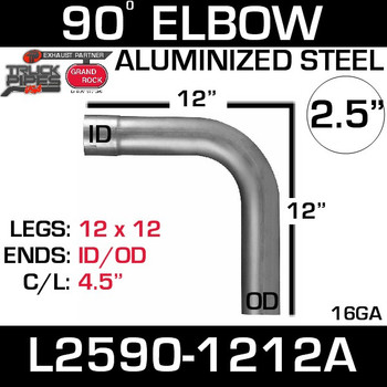 "2.5"" 90 Degree Exhaust Elbow 12"" x 12"" ID-OD Aluminized L2590-1212A"