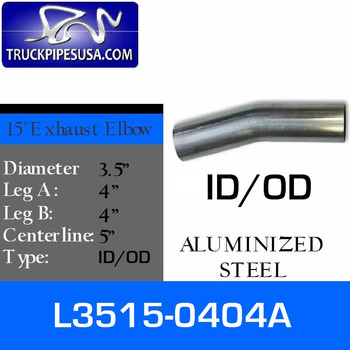 "L3515-0404A 3.5"" 15 Degree Exhaust Elbow 4"" x 4"" ID-OD Aluminized L3515-0404A"