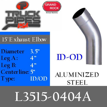 "3.5"" 15 Degree Exhaust Elbow 4"" x 4"" ID-OD Aluminized L3515-0404A"