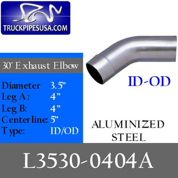 "3.5"" 30 Degree Exhaust Elbow 4"" x 4"" ID-OD Aluminized L3530-0404A"