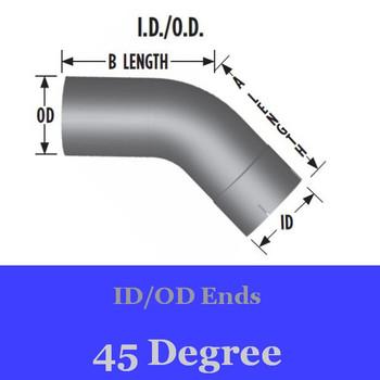 3.5 inch 45 Degree Elbow 9 inch x 9 inch ID-OD Aluminized
