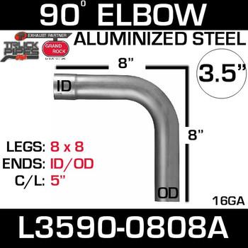 "L3590-0808A 3.5"" 90 Degree Exhaust Elbow 8"" x 8"" ID-OD Aluminized"