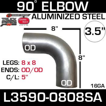"3.5"" 90 Degree Exhaust Elbow 8"" x 8"" OD-OD Aluminized L3590-0808SA"