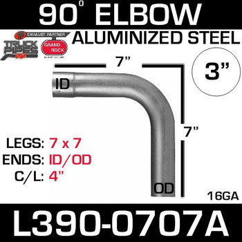 "3"" 90 Degree Exhaust Elbow 7"" x 7"" ID-OD Aluminized L390-0707A"