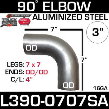 "3"" 90 Degree Exhaust Elbow 7"" x 7"" OD-OD Aluminized L390-0707SA"