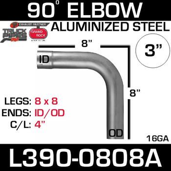 "3"" 90 Degree Exhaust Elbow 8"" x 8"" ID-OD Aluminized L390-0808A"