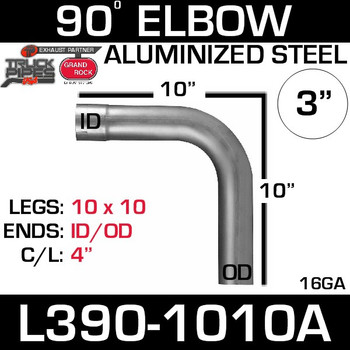 "3"" 90 Degree Exhaust Elbow 10"" x 10"" ID-OD Aluminized L390-1010A"
