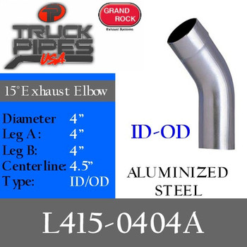 "4"" 15 Degree Exhaust Elbow 4"" x 4"" ID-OD Aluminized L415-0404A"