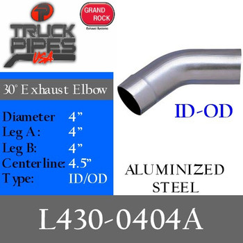 "4"" Exhaust Elbow 30 Degree 4"" x 4"" ID-OD Aluminized L430-0404A"