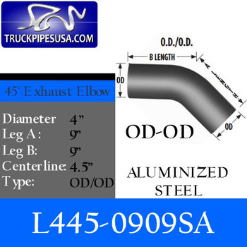 "L445-0909SA 4"" Exhaust Elbow 45 Degree 9"" x 9"" Aluminized OD-OD L445-0909SA"