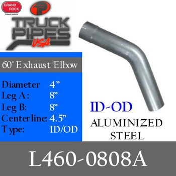 "4"" Exhaust Elbow 60 Degree 8"" x 8"" Aluminized ID-OD L460-0808A"
