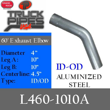 "4"" Exhaust Elbow 60 Degree 10"" x 10"" Aluminized ID-OD L460-1010A"