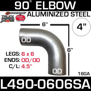 "4"" Exhaust Elbow 90 Degree 6"" x 6"" OD-OD Aluminized L490-0606SA"