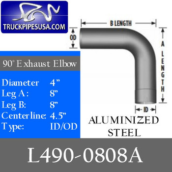 "4"" Exhaust Elbow 90 Degree 8"" x 8"" OD-ID Aluminized L490-0808A"