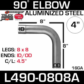 "4"" Exhaust Elbow 90 Degree 8"" x 8"" OD-ID Aluminized L490-0808A"