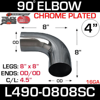 "4"" Chrome Exhaust Elbow 90 Degree 8"" x 8"" OD-OD L490-0808SC"