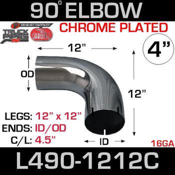 "4"" Chrome Exhaust Elbow 90 Degree 12"" x 12"" ID-OD L490-1212C"