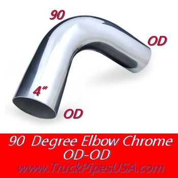 L490-1212SC 4 inch Chrome Elbow 90 Degree 12' x 12' OD-OD