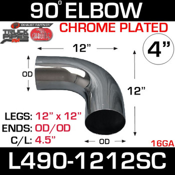 "4"" Chrome Exhaust Elbow 90 Degree 12"" x 12"" OD-OD L490-1212SC"