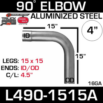 "4"" Exhaust Elbow 90 Degree 15"" x 15"" ID-OD Aluminized L490-1515A"