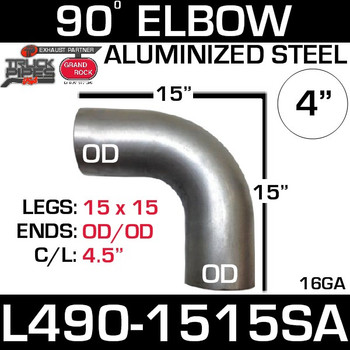 "4"" Exhaust Elbow 90 Degree 15"" x 15"" OD-OD Aluminized L490-1515SA"