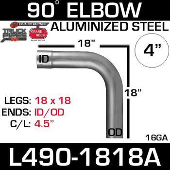 "4"" Exhaust Elbow 90 Degree 18"" x 18"" ID-OD Aluminized L490-1818A"