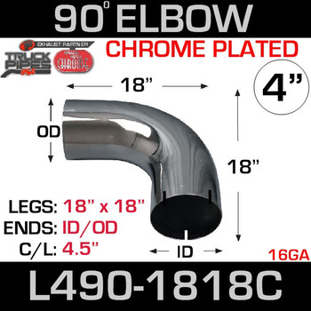 "4"" Chrome Exhaust Elbow 90 Degree 18"" x 18"" ID-OD L490-1818C"