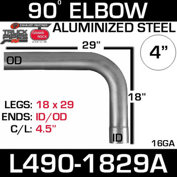 "4"" Exhaust Elbow 90 Degree 18"" x 29"" ID-OD Aluminized L490-1829A"