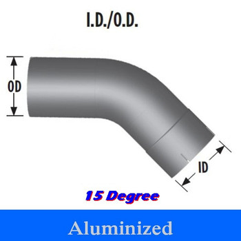 "L515-0404A 5"" 15 Degree Exhaust Elbow 4"" x 4"" ID-OD Aluminized L515-0404A"