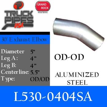 "5"" 30 Degree Exhaust Elbow 4"" x 4"" OD-OD Aluminized L530-0404SA"