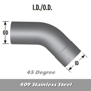 "L545-1212S4 5"" 45 Degree Exhaust Elbow 12"" x 12"" ID-OD 409 Stainless Steel L545-1212S4"