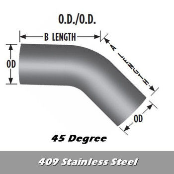 "L545-1212S4S 5"" 45 Degree Exhaust Elbow 12"" x 12"" OD-OD- 409 Stainless Steel L545-1212S4S"