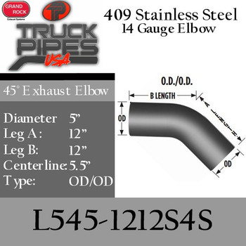 """5"""" 45 Degree Exhaust Elbow 12"""" x 12"""" OD-OD- 409 Stainless Steel L545-1212S4S"""