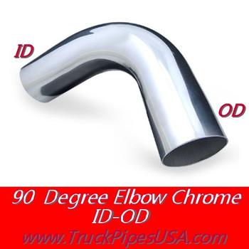 """L590-1515C 5"""" 90 Degree Exhaust Elbow 15"""" x 15"""" ID-OD Chrome L590-1515C"""