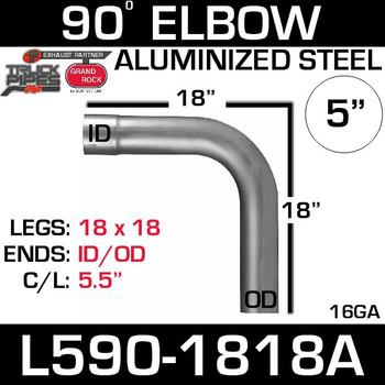 "5"" 90 Degree Exhaust Elbow 18"" x 18"" ID-OD Aluminized L590-1818A"