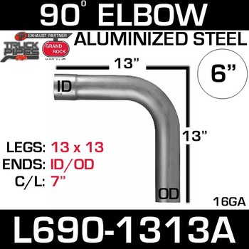 "6"" 90 Degree Exhaust Elbow 13"" x 13"" ID-OD Aluminized L690-1313A"