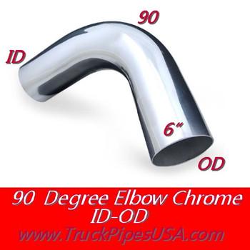 """L690-1313C 6"""" 90 Degree Exhaust Elbow 13"""" x 13"""" ID-OD Chrome L690-1313C"""