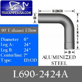 """L690-2424A 6"""" 90 Degree Exhaust Elbow 24"""" x 24"""" ID-OD Aluminized L690-2424A"""