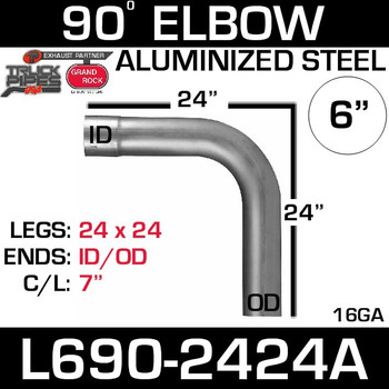 "6"" 90 Degree Exhaust Elbow 24"" x 24"" ID-OD Aluminized L690-2424A"